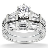 Baguette Bar Diamond Engagement Rings