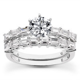 Baguette Prong Diamond Engagement Rings