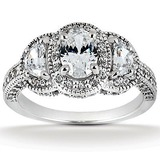 Half Moon Side Stones Diamond Engagement Rings