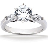 Marquise Side Stones Diamond Engagement Rings