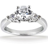 Pear Side Stones Diamond Engagement Rings