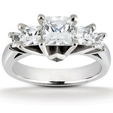 Princess Side Stones Diamond Engagement Rings