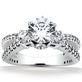 Round Side Stones Diamond Engagement Rings