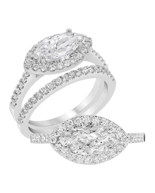 14K Marquise Cut Diamond Engagement Ring TWT  0.30  CT.  Style