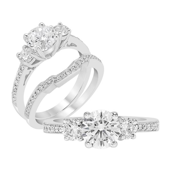 14K Three Stone Cut Diamond Engagement Ring TWT  0.55  CT.  Style