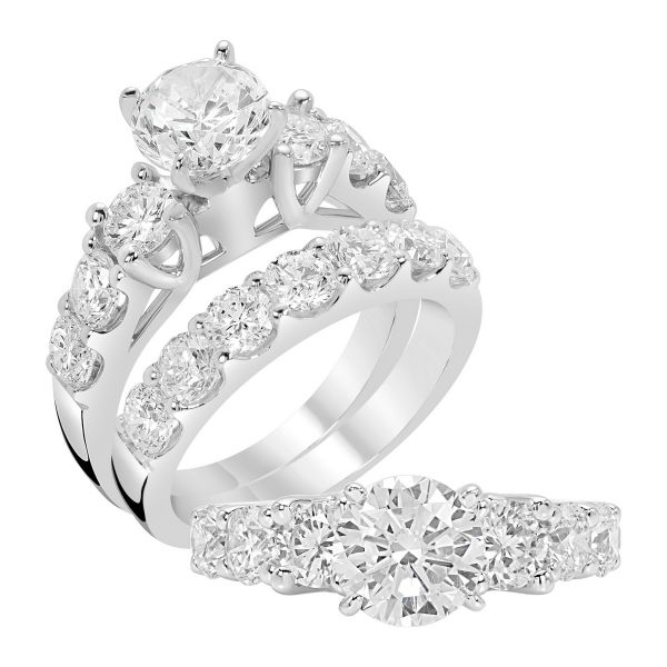 14K Three Stone Cut Diamond Engagement Ring TWT  1.30  CT.  Style