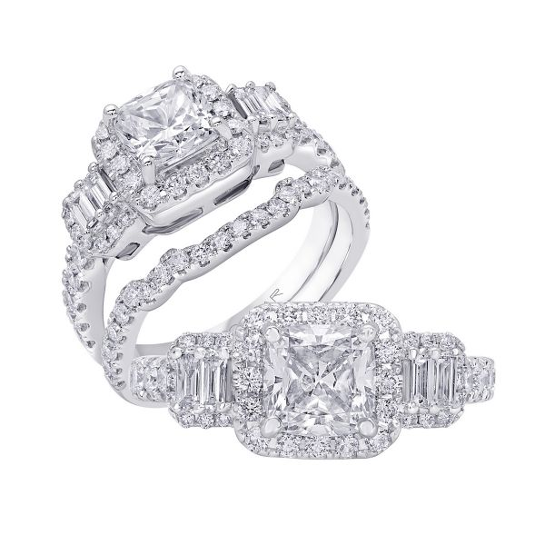 14K Three Stone Cut Diamond Engagement Ring TWT  0.65  CT.  Style