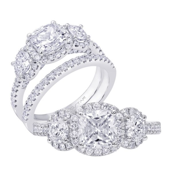 14K Three Stone Cut Diamond Engagement Ring TWT  1.00  CT.  Style