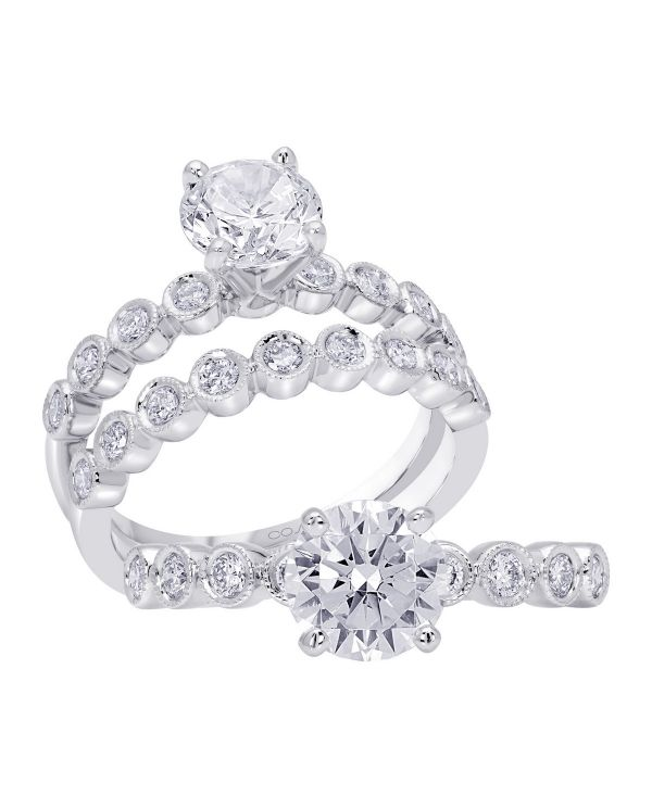 14K Stackable Cut Diamond Engagement Ring TWT  0.24  CT.  Style