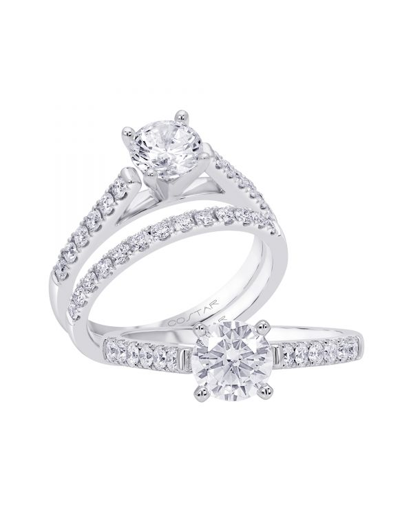 14K Non Halo Cut Diamond Engagement Ring TWT  0.30  CT.  Style
