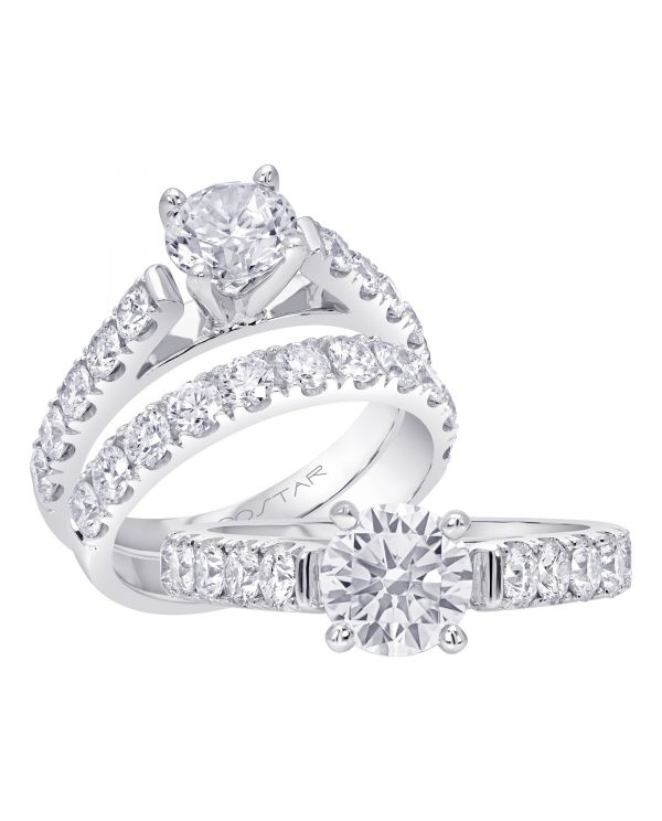 14K Non Halo Cut Diamond Engagement Ring TWT  0.90  CT.  Style