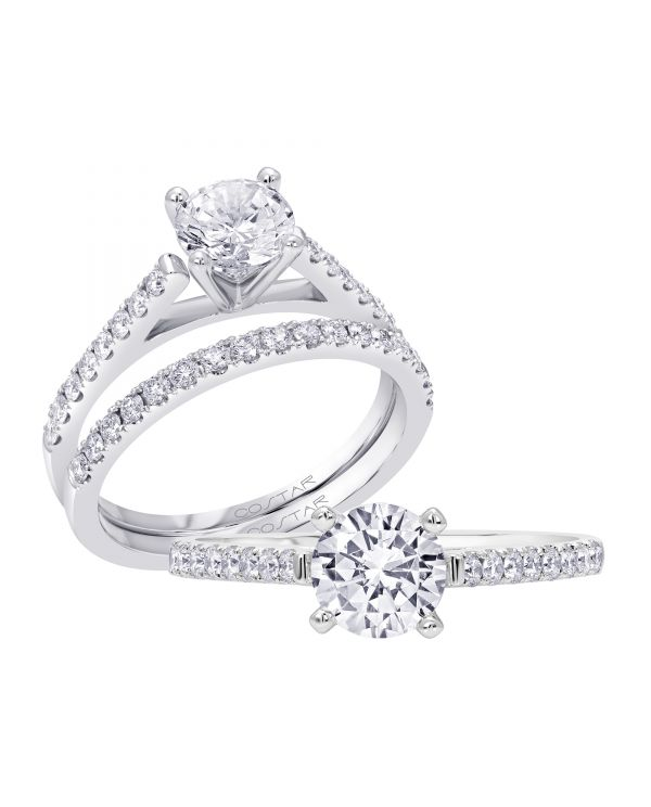 14K Non Halo Cut Diamond Engagement Ring TWT  0.23  CT.  Style
