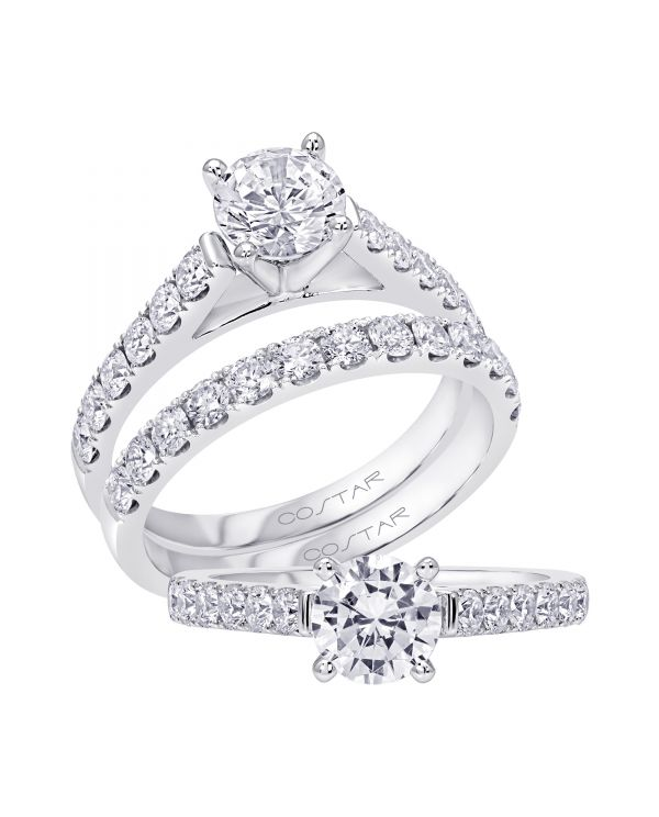14K Non Halo Cut Diamond Engagement Ring TWT  0.45  CT.  Style