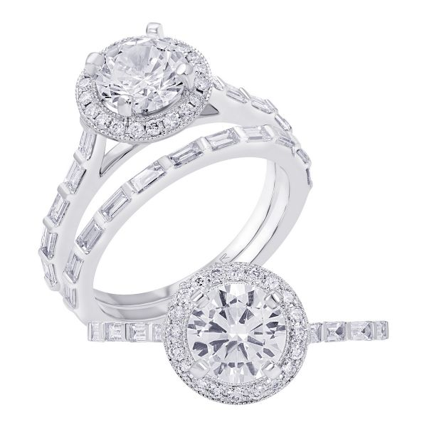 14K Stackable Cut Diamond Engagement Ring TWT  0.45  CT.  Style