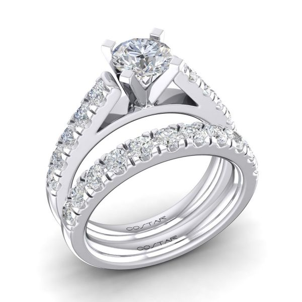 14K Non Halo Cut Diamond Engagement Ring TWT  0.65  CT.  Style