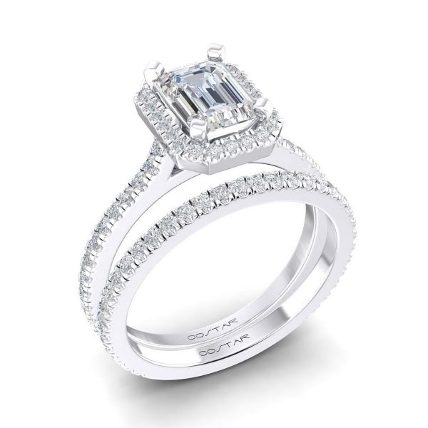 14K Emerald Cut Diamond Engagement Ring TWT  0.32  CT.  Style