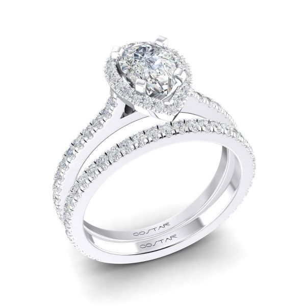 14K Halo Cut Diamond Engagement Ring TWT  0.32  CT.  Style