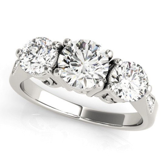 ENGAGEMENT RINGS 3 STONE ROUND #82739