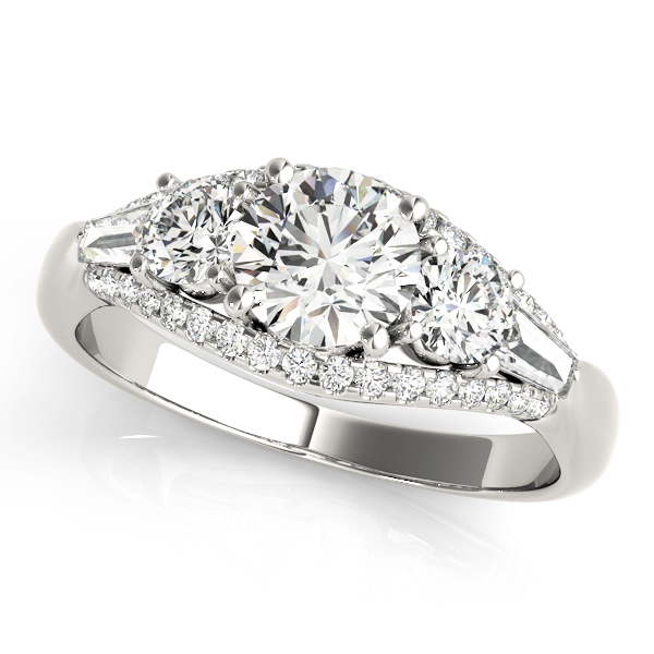 14kt Three Stone Cut Diamond Engagement Ring  Null Style