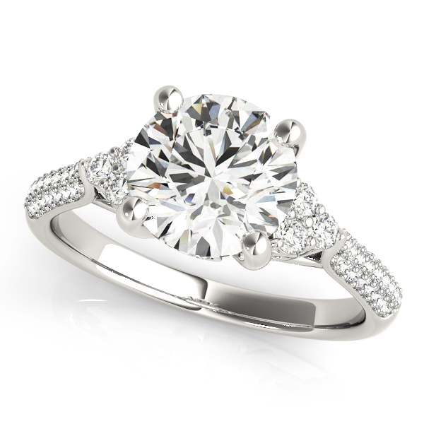 14kt Cluster Sides Cut Diamond Engagement Ring  Null Style