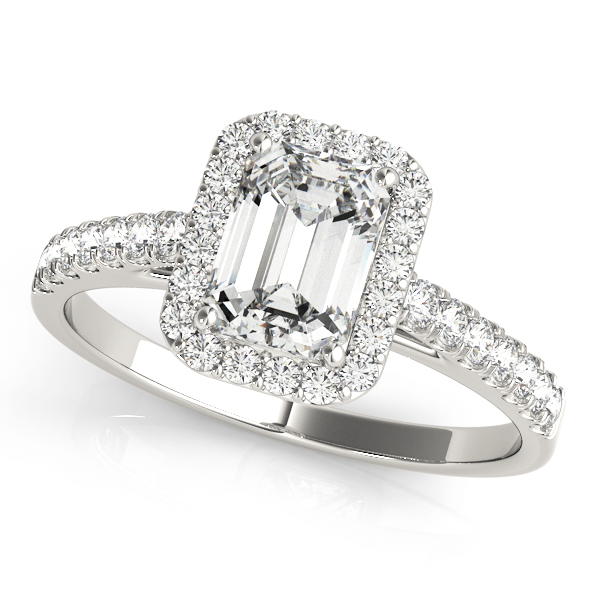 14kt Halo Cut Diamond Engagement Ring  Emerald Style