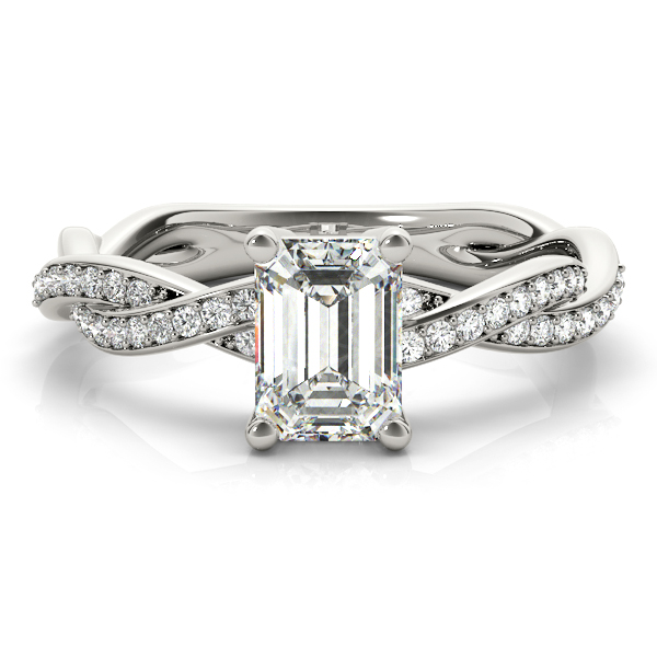 EMERALD CUT RING WITH BRAIDED SHANK #85001