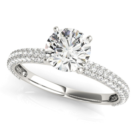 14kt Pave Cut Diamond Engagement Ring  Null Style