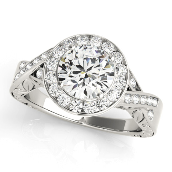 14kt Twisted Shank Cut Diamond Engagement Ring  Null Style