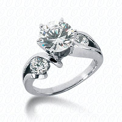 14KW Round Bar Cut Diamond Unique Engagement Ring 0.50 CT. Round Side Stones Style