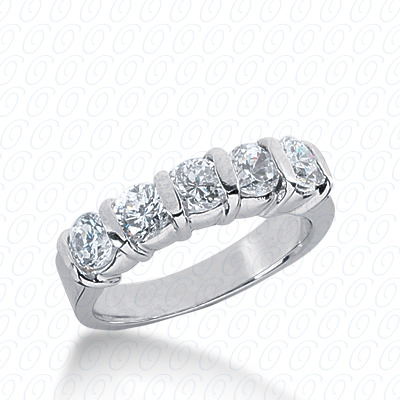 14KW Bar Setting Cut Diamond Unique Engagement Ring 1.25 CT. Round Style