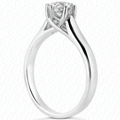 0.00 CT. 14 Karat Pink Gold Round Cut Diamond <br>Engagement Ring Solitaires Style