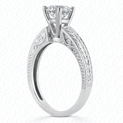 PLAT Antique Cut Diamond Unique Engagement Ring
