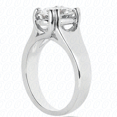 14KP Oval Cut Diamond Unique <br>Engagement Ring 0.00 CT. Solitaires Style