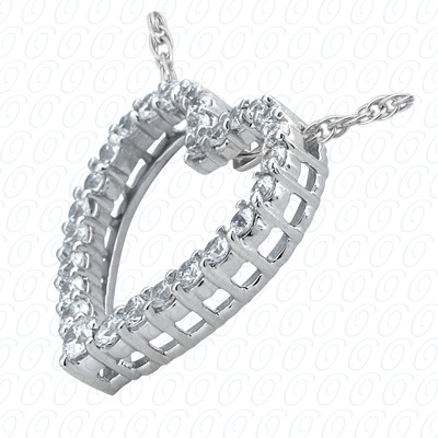 14KW Hearts Cut Diamond Unique Engagement Ring 0.50 CT. Pendants Style