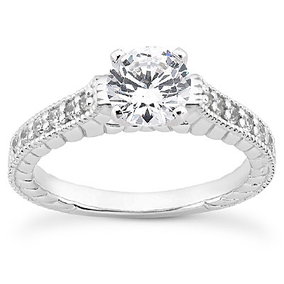 14KP Antique Cut Diamond Unique <br>Engagement Ring 0.18 CT. Engagement Sets Style