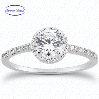 14KW Halo Petite  Cut Diamond Unique Engagement Ring 0.22 CT. Petite Style