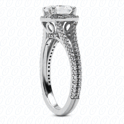 18KP Cushion Cut Diamond Unique Engagement Ring