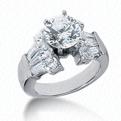 14KP Bq+Rd Cut Diamond Unique <br>Engagement Ring 1.62 CT. Combination Style