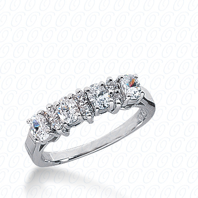 14KP Oval 0.95 CT. Wedding Bands