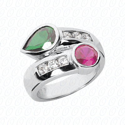 14KW Combination Cut Diamond Unique Engagement Ring 0.42 CT. Color Stone Rings Style