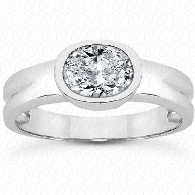 18KP Oval Cut Diamond Unique Engagement Ring