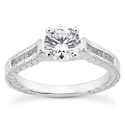 14KP Antique Cut Diamond Unique <br>Engagement Ring 0.17 CT. Engagement Sets Style