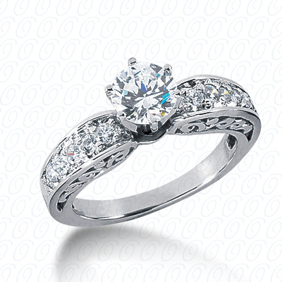 14KP Antique Cut Diamond Unique <br>Engagement Ring 0.39 CT. Engagement Rings Style