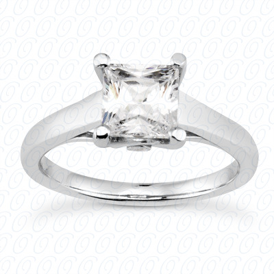 14KP Princess Cut Diamond Unique <br>Engagement Ring 0.02 CT. Solitaires Style