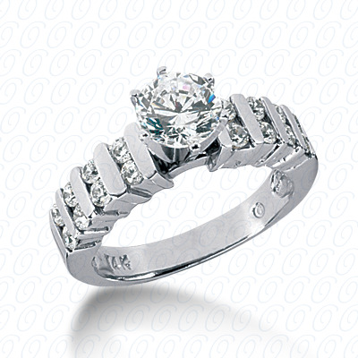 14KW Round Bar Cut Diamond Unique Engagement Ring 0.46 CT. Round Side Stones Style