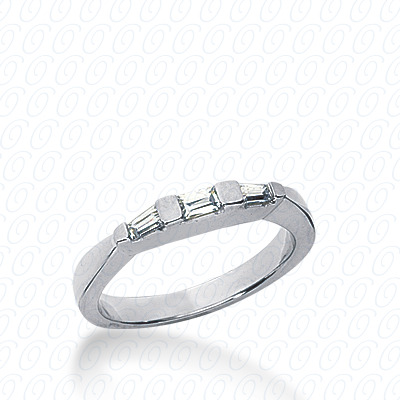 14KW Bar Set Cut Diamond Unique Engagement Ring 0.20 CT. Baguette Style