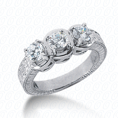 14KW Antique Cut Diamond Unique Engagement Ring 1.05 CT. Engagement Rings Style
