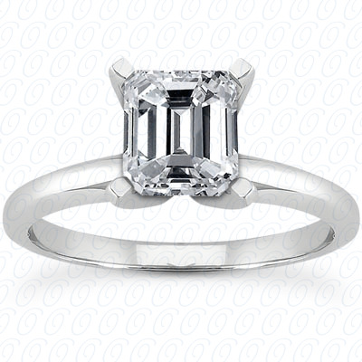 PLAT Emerald Cut Diamond Unique Engagement Ring