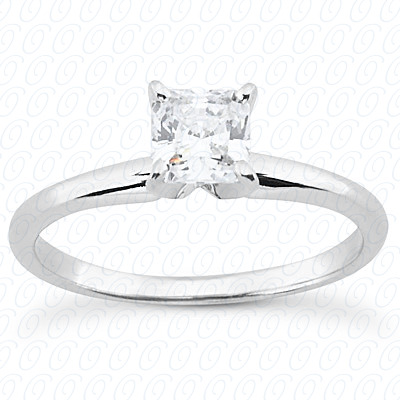 0.00 CT. 14 Karat Pink Gold Cushion Cut Diamond <br>Engagement Ring Solitaires Style