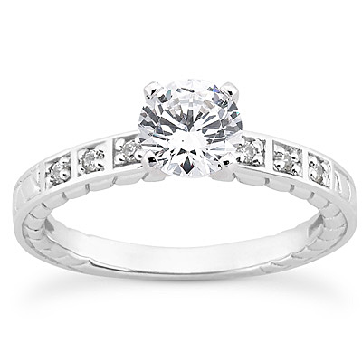 14KP Antique Cut Diamond Unique <br>Engagement Ring 0.06 CT. Engagement Sets Style